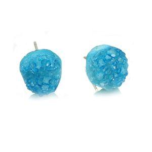 Simple gradual change blue crystal earrings